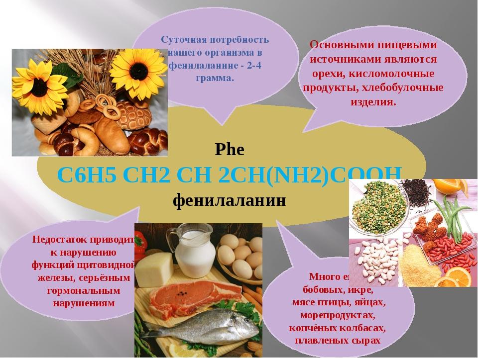 Phe С6H5 CH2 CH 2CH(NH2)COOH фенилаланин Много его в бобовых, икре, мясе пти...