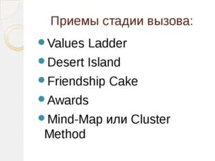 Приемы стадии вызова: Values Ladder Desert Island Friendship Cake Awards Mind