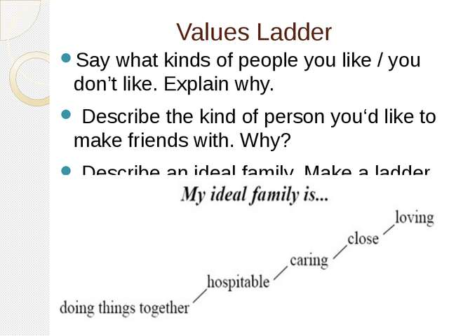 Values Ladder Say what kinds of people you like / you don't like. Explain why...