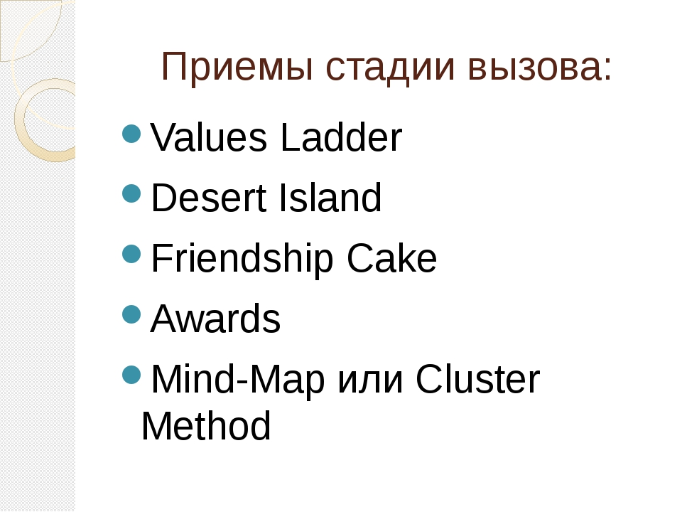 Приемы стадии вызова: Values Ladder Desert Island Friendship Cake Awards Mind...