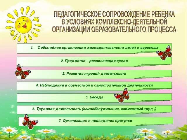 Событийная организация жизнедеятельности детей и взрослых 2. Предметно – разв...
