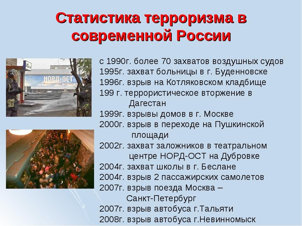 Статистика терроризма в современной России с 1990г. более 70 захватов воздушн...
