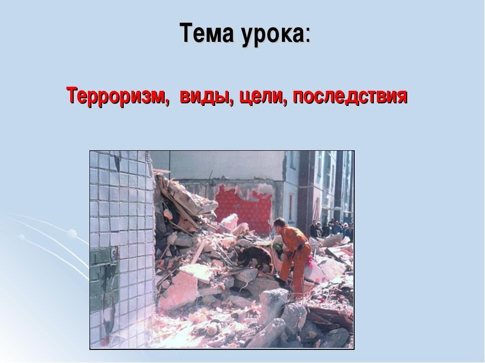 Терроризм, виды, цели, последствия Тема урока: