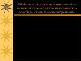 Обобщение и систематизация знаний по темам: «Основные классы неорганических в