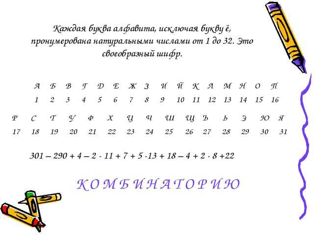 Каждая буква алфавита, исключая букву ё, пронумерована натуральными числами о...