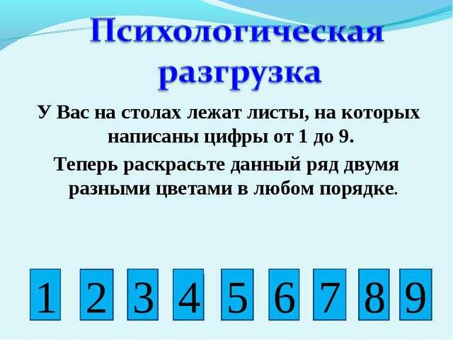 У Вас на столах лежат листы, на которых написаны цифры от 1 до 9. Теперь ра...