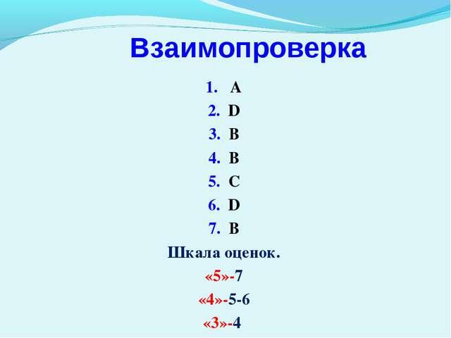 Взаимопроверка 1. A 2. D 3. B 4. B 5. C 6. D 7. B Шкала оценок. «5»-7 «4»-5-6...