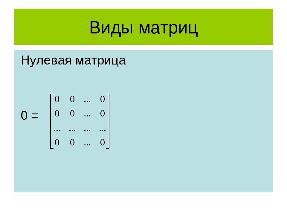 Виды матриц Нулевая матрица 0 =