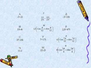 Я X М Г A -5+2iД -3+10i И 19-4i Р 2,8+47i C 37-18i У 7+17i Ч 11-i Ы 2