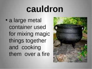 cauldron a large metal container used for mixing magic things together and co