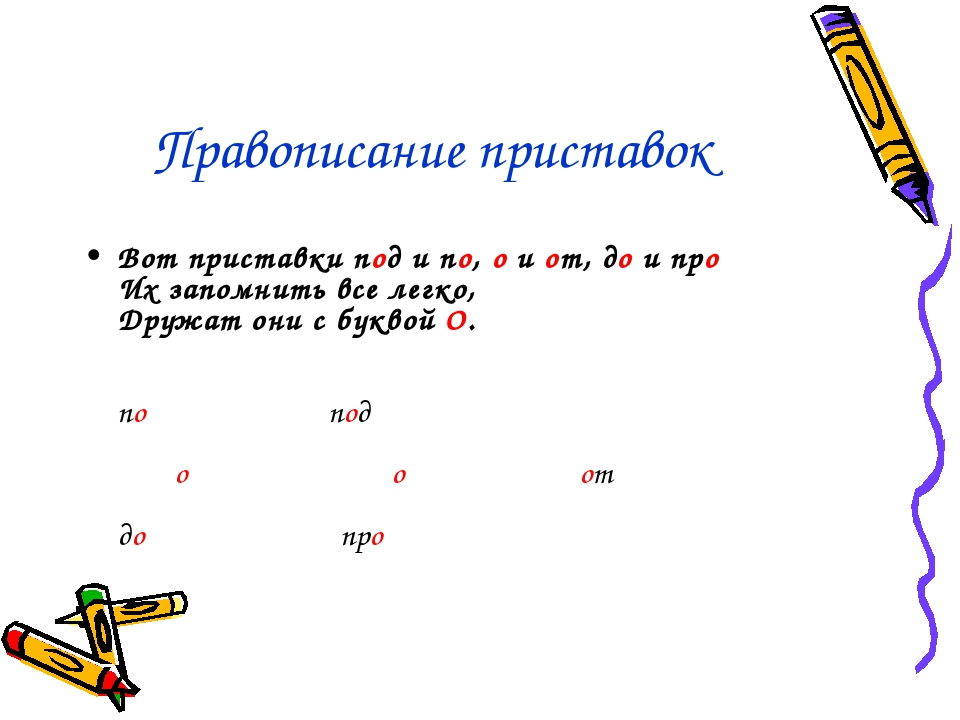 Правописание приставок Вот приставки под и по, о и от, до и про Их запомнить...