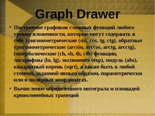 Graph Drawer Построение графиков сложных функций любого уровня вложенности, к