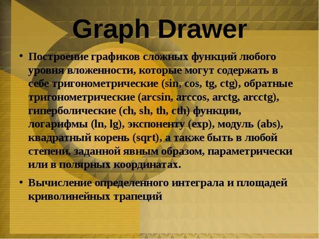 Graph Drawer Построение графиков сложных функций любого уровня вложенности, к...