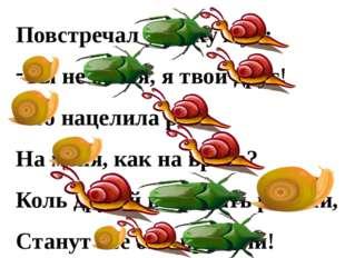 Повстречал улитку жук; Ты не бойся, я твой друг! Что нацелила рога На меня, к