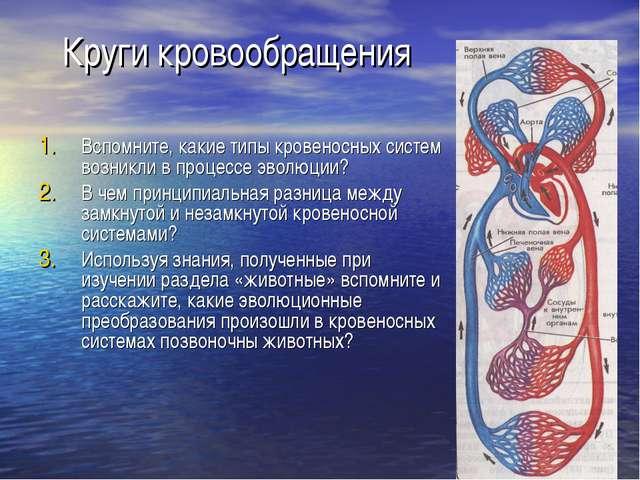 Круги кровообращения Вспомните, какие типы кровеносных систем возникли в проц...