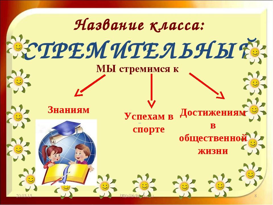 Название класса: СТРЕМИТЕЛЬНЫЙ МЫ стремимся к * http://aida.ucoz.ru * Знаниям...
