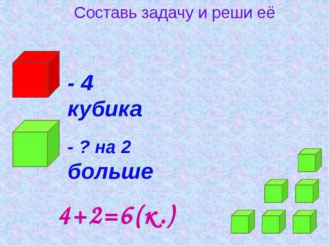 Составь задачу и реши её - 4 кубика - ? на 2 больше 4+2=6(к.)
