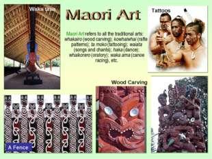 Maori Art refers to all the traditional arts: whakairo (wood carving); kowha