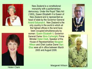 New Zealand is a constitutional monarchy with a parliamentary democracy. Und