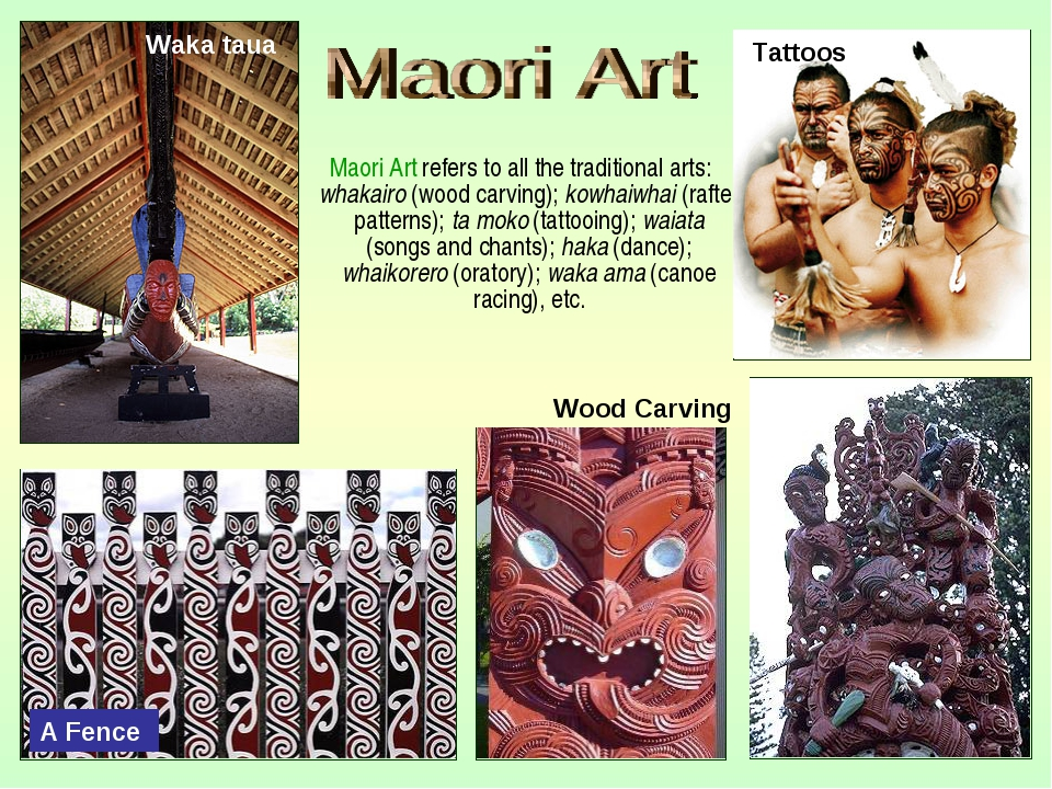 Maori Art refers to all the traditional arts: whakairo (wood carving); kowha...
