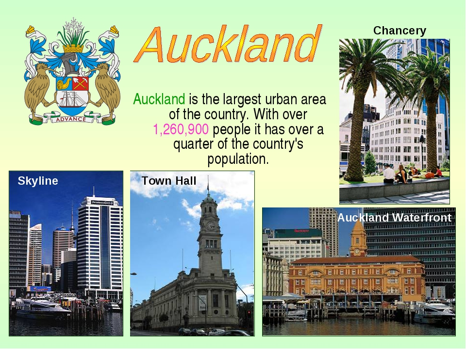 Auckland is the largest urban area of the country. With over 1,260,900 people...