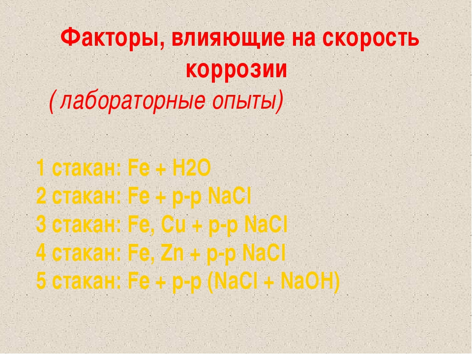1 стакан: Fe + H2O 2 стакан: Fe + р-р NaCl 3 стакан: Fe, Cu + р-р NaCl 4 стак...