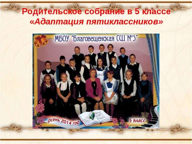 Родительское собрание в 5 классе «Адаптация пятиклассников»