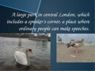 A large park in central London, which includes a speaker's corner, a place wh