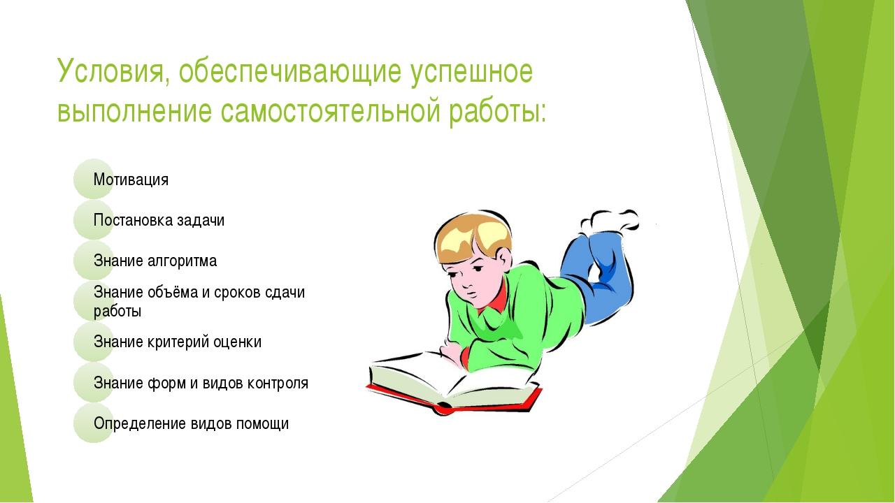 Условия, обеспечивающие успешное выполнение самостоятельной работы:
