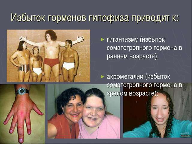 Избыток гормонов гипофиза приводит к: гигантизму (избыток соматотропного горм...