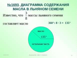 №1693. ДИАГРАММА СОДЕРЖАНИЯ МАСЛА В ЛЬНЯНОМ СЕМЕНИ Известно, что массы льняно