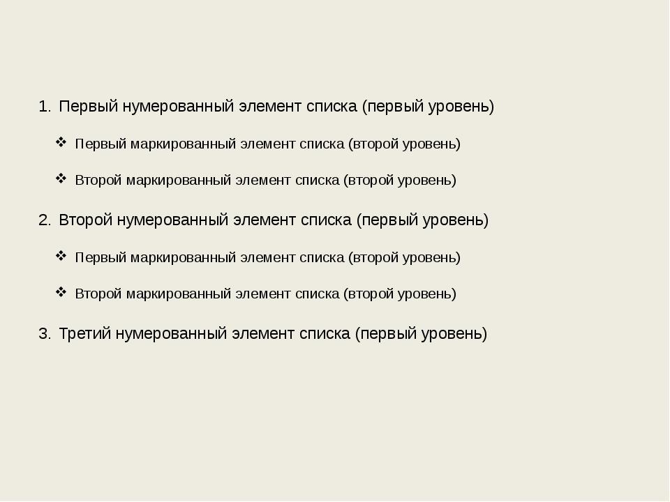 Первый нумерованный элемент списка (первый уровень) Первый маркированный элем...