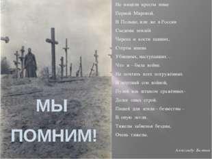Не взошли кресты иные Первой Мировой. В Польше, или же в России Съедены землё