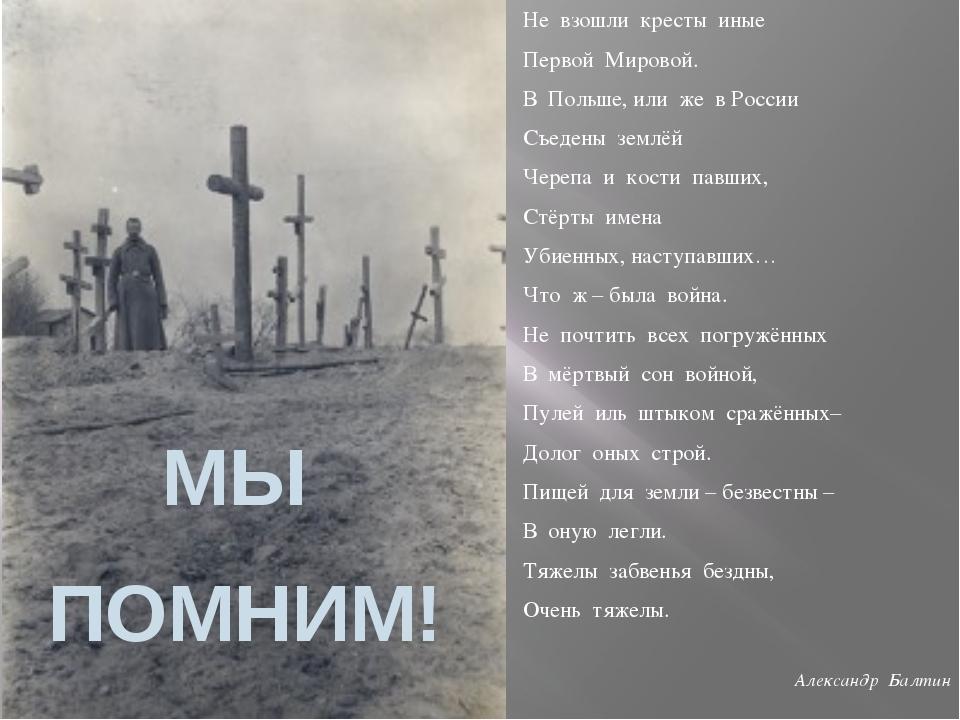 Не взошли кресты иные Первой Мировой. В Польше, или же в России Съедены землё...