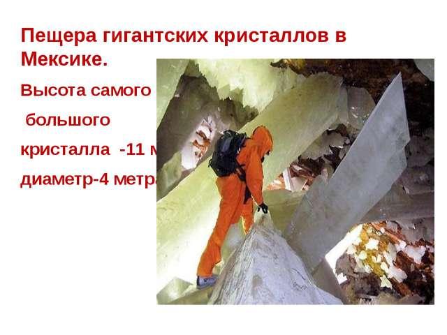 Пещера гигантских кристаллов в Мексике. Высота самого большого кристалла -11...