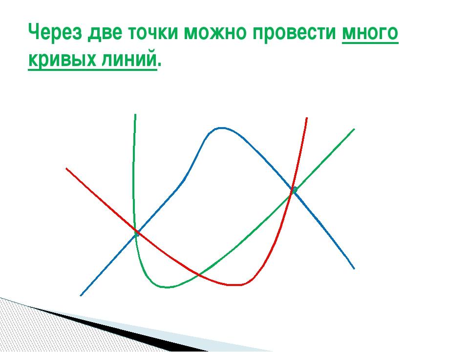 Через две точки можно провести много кривых линий.