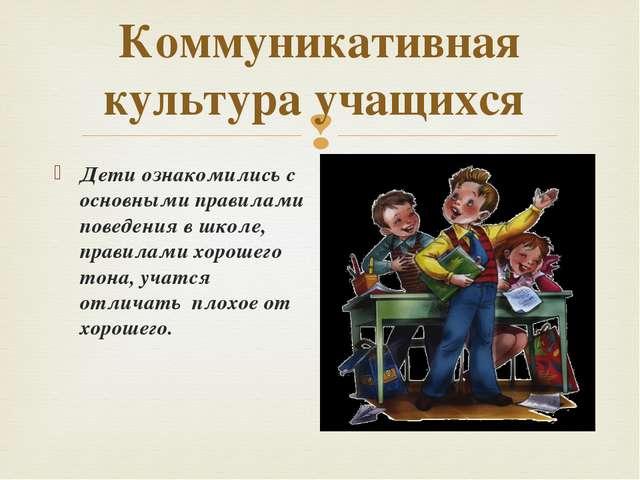 Коммуникативная культура учащихся Дети ознакомились с основными правилами пов...