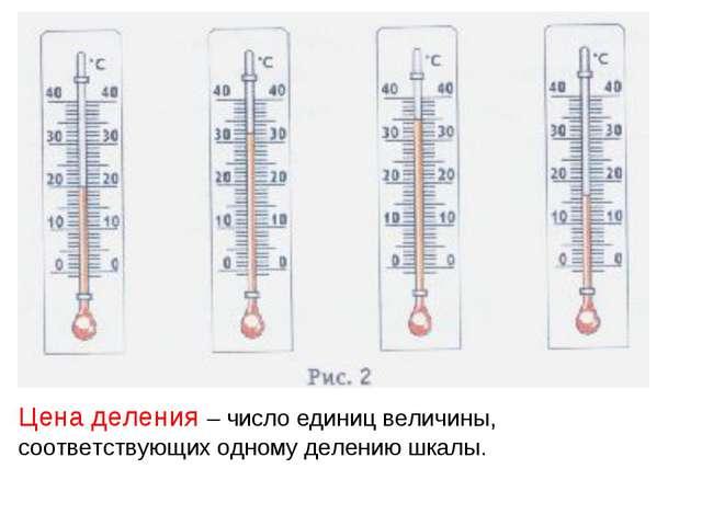 Цена деления – число единиц величины, соответствующих одному делению шкалы.