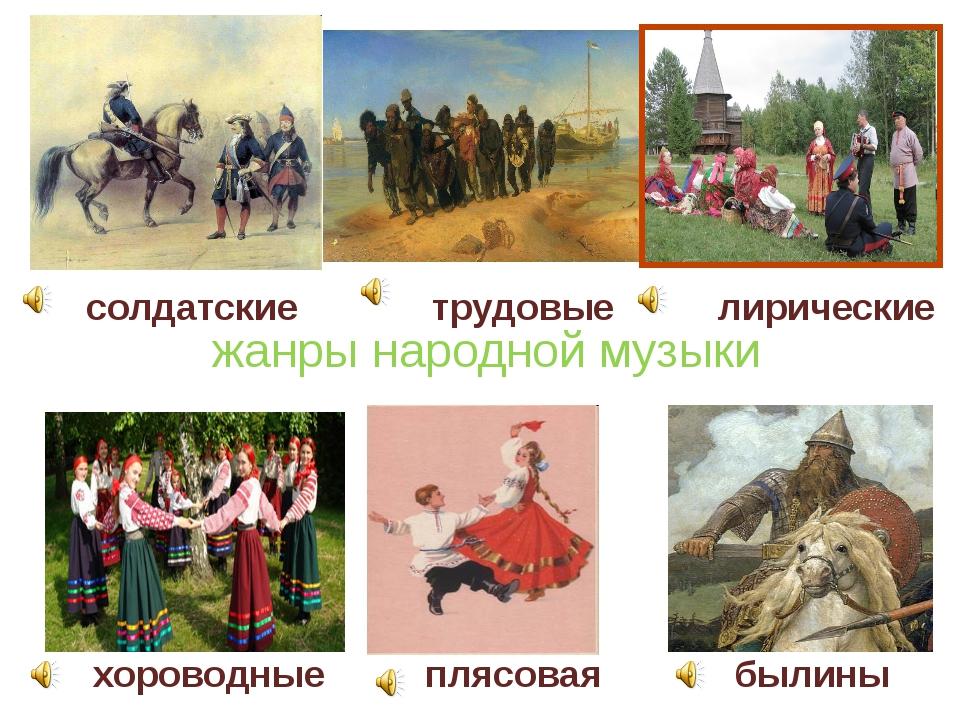 жанры народной музыки хороводные солдатские плясовая трудовые былины лиричес...