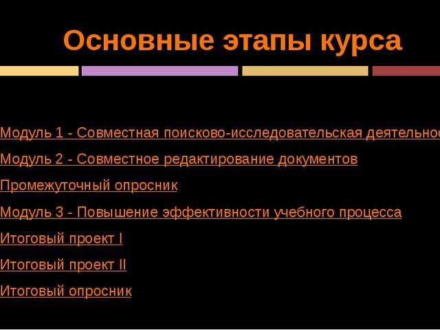 Основные этапы курса Модуль 1 - Совместная поисково-исследовательская деятель...