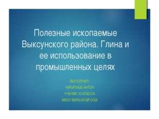 Полезные ископаемые Выксунского района. Глина и ее использование в промышленн