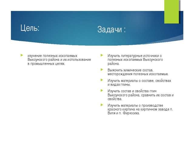 Цель: изучение полезных ископаемых Выксунского района и их использование в пр...