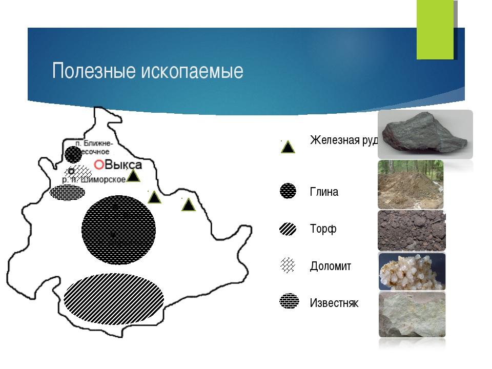 Железная руда Глина Торф Доломит Известняк Полезные ископаемые