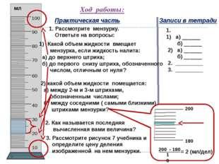 4. Налейте в мензурку воды, определите и запишите, чему равен объем налитой