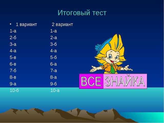Итоговый тест 1 вариант 2 вариант 1-а 1-а 2-б 2-а 3-а 3-б 4-а 4-а 5-в 5-б 6-в...