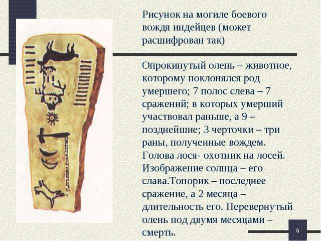 Опрокинутый олень – животное, которому поклонялся род умершего; 7 полос слева...
