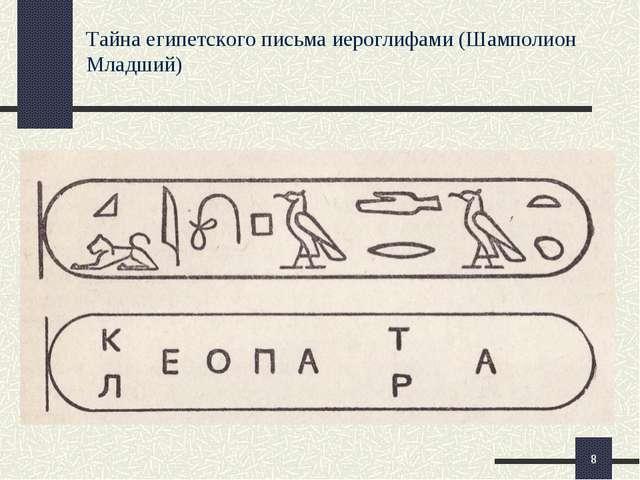 Тайна египетского письма иероглифами (Шамполион Младший) *