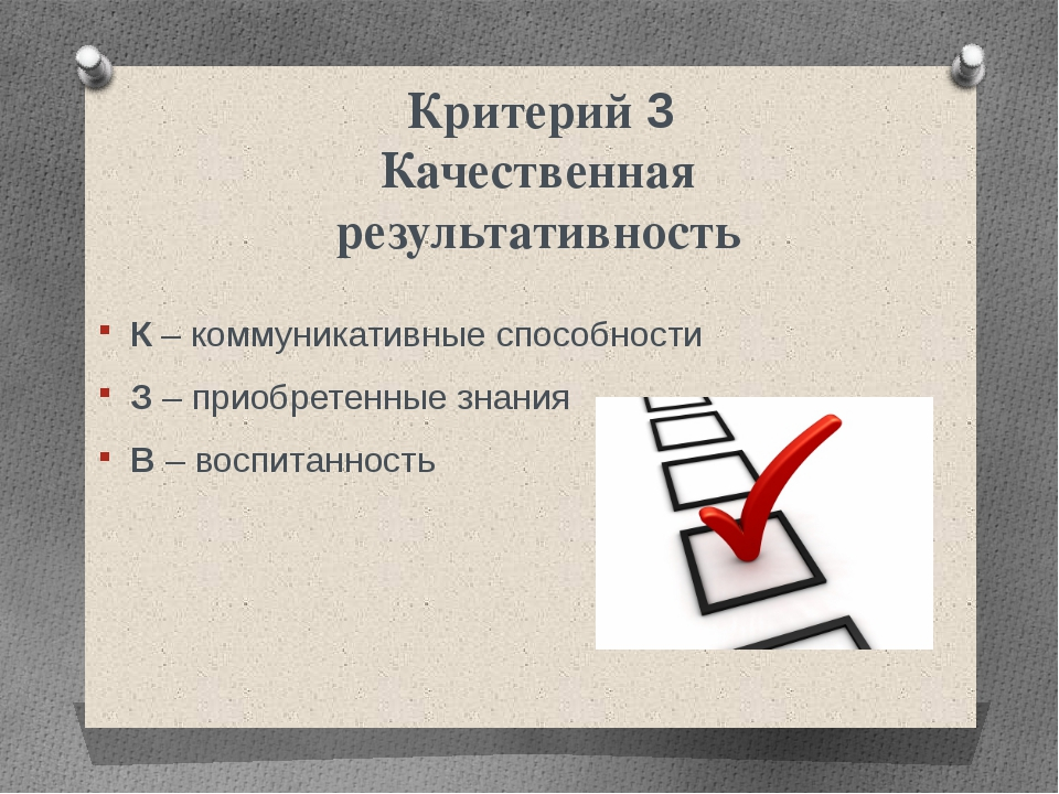 Критерий 3 Качественная результативность К – коммуникативные способности З –...