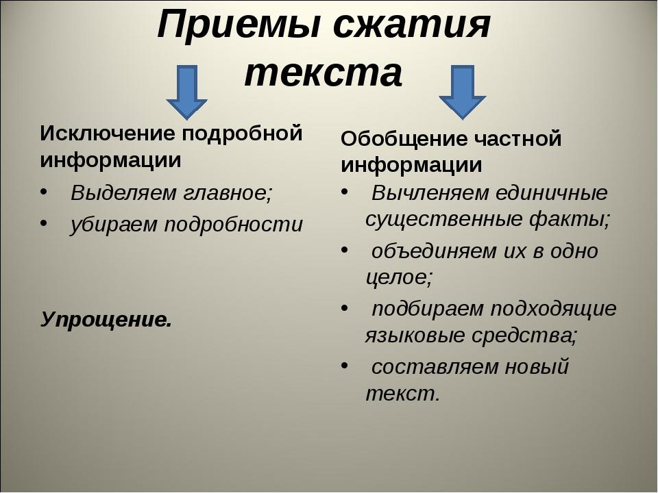 Приемы сжатия текста Исключение подробной информации Выделяем главное; убирае...