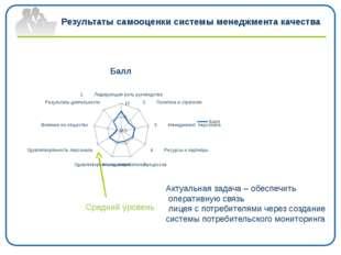 Результаты самооценки системы менеджмента качества Средний уровень Актуальная